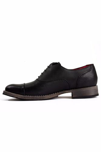 zapato adro hombre cap toe black