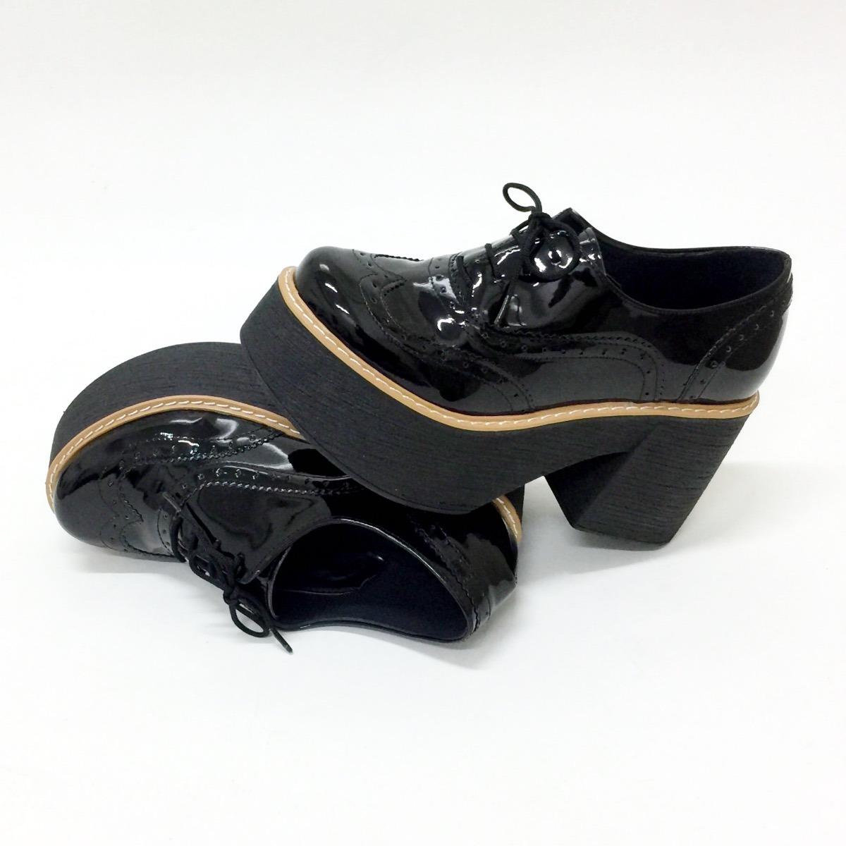 zapato bota cuero ecologico taco y plataforma negro o charol. Cargando zoom. ffb9b60285683