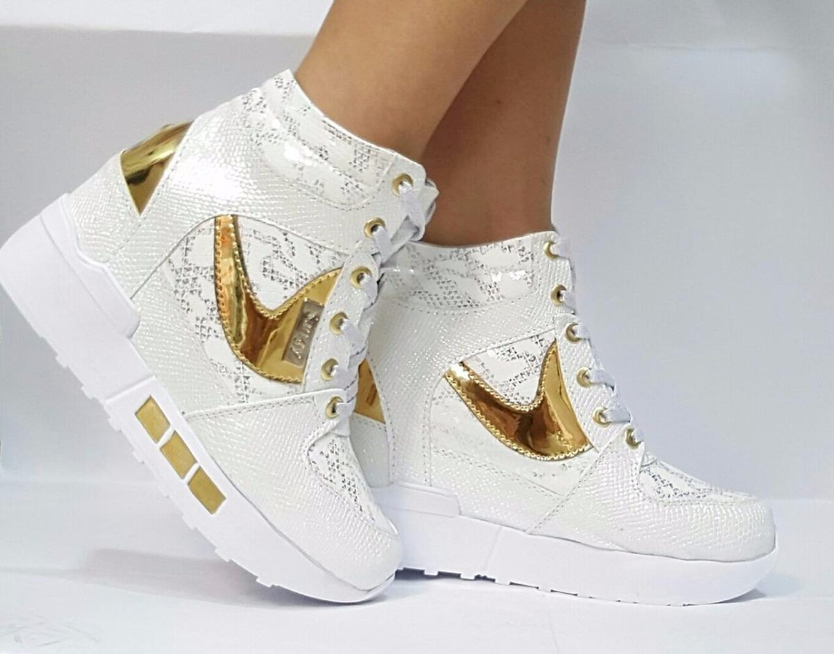25b0dfa6fc2d9 zapato botín bota alto blanco dorado para mujeres dama joven. Cargando zoom.