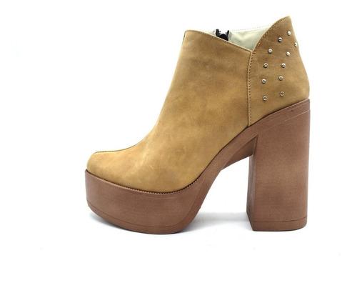 zapato botineta cuero plataforma tachas taco alto dama 740pm