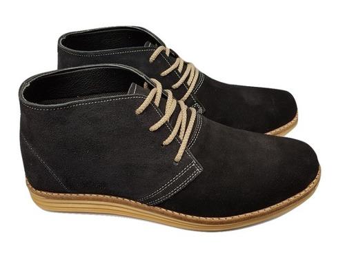 zapato botita hombre cuero gamuzada negra