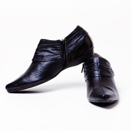 zapato bottier mujer cuero napa negro, modelo botin