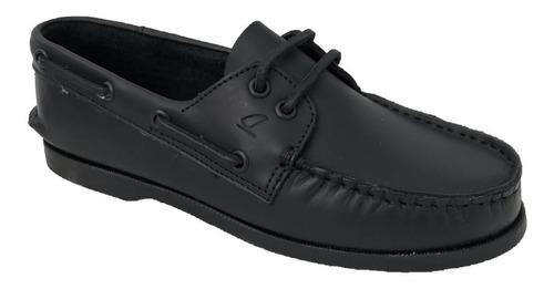 zapato casual nautico top sailer 301 n hombre piel negro