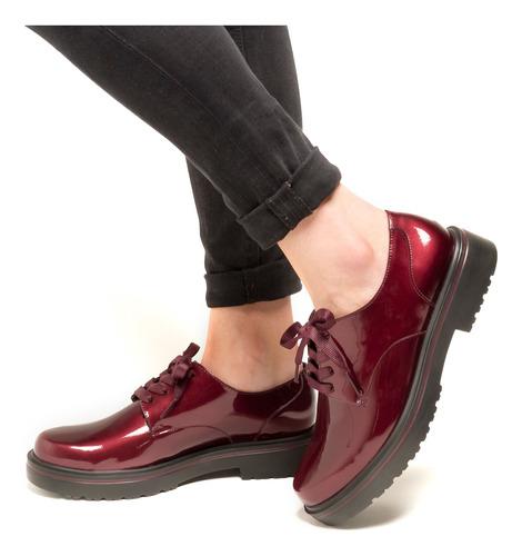 zapato charol flexi dama 32901 vino