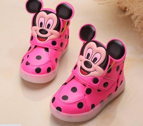 zapato con las luces, la cara del niño mickey importada herm