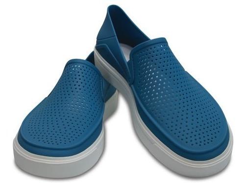 zapato crocs caballero citilane roka slip on azul cielo