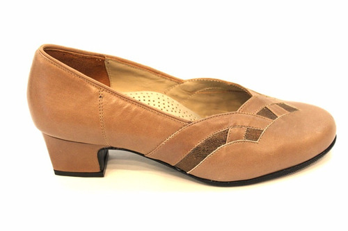 zapato cuero combinado taco cuadrado 346. marca modigliani