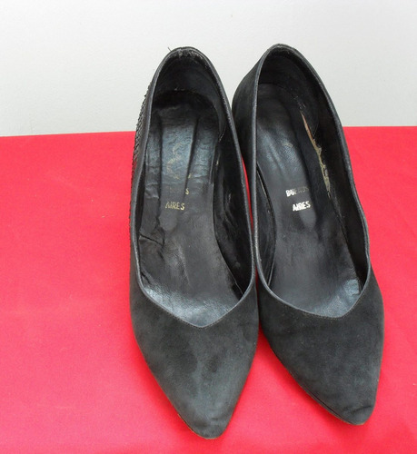 zapato cuero gamuza talle 36 taco 6 cm con detalle