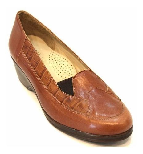 zapato cuero mujer con elastico art 66. marca modigliani