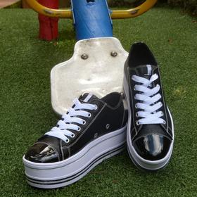 Zapato Dama  Tipo Converse Con Plataforma  Negro/ Blanco
