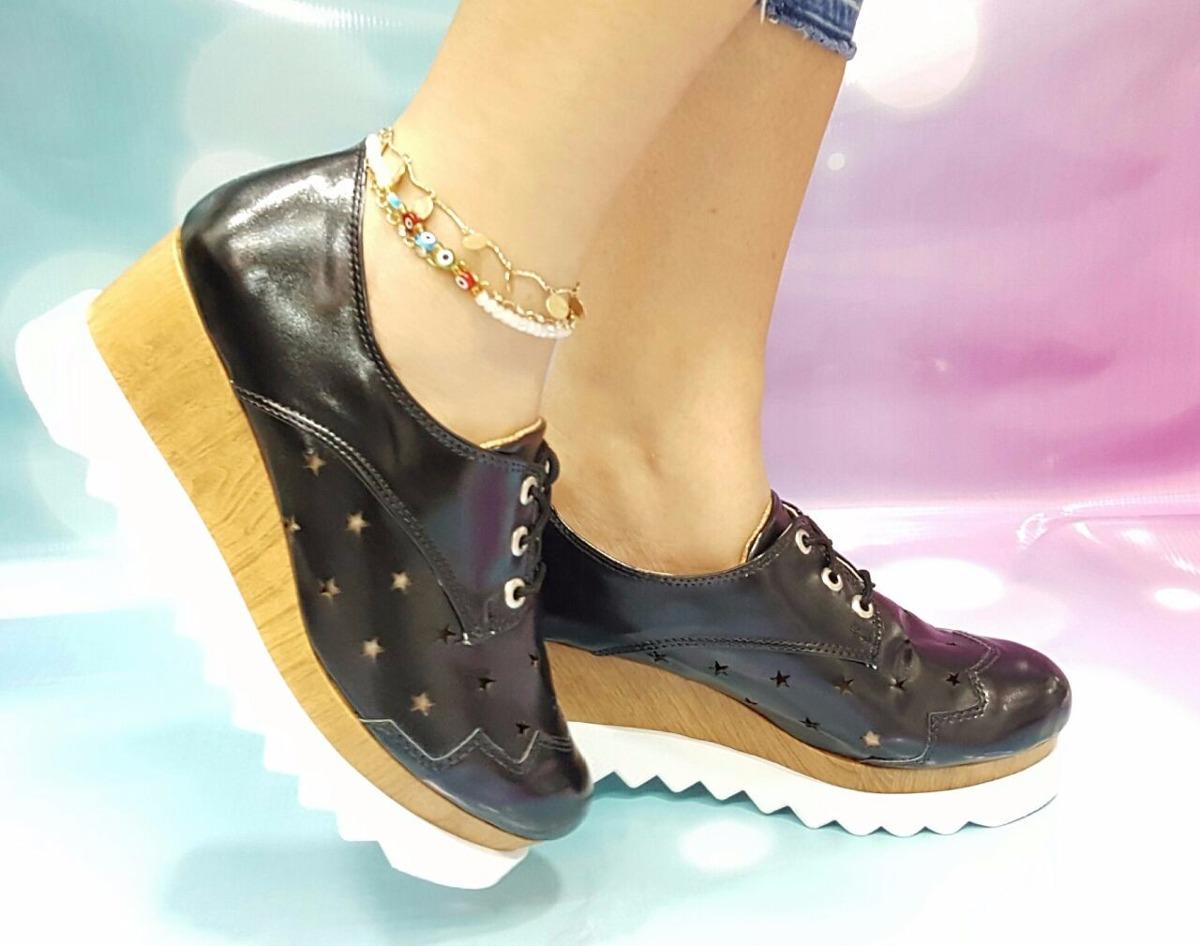 eedafa60b65 zapato dama calzado oxford moda 2017 charol negro plataforma. Cargando zoom.