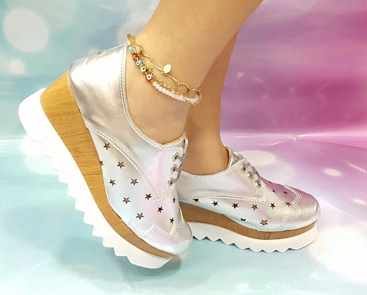 ac85aad75c1a5 zapato dama calzado oxford moda 2017 plateado plataforma. Cargando zoom.