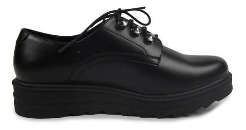 zapato dama mujer ozono tipo piel negro suela ancha casuales