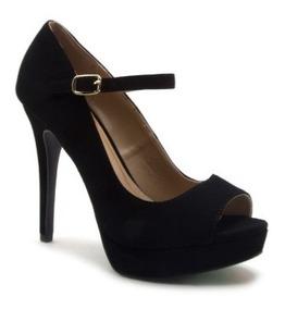 f6761e259 Zapato Dama Mujer Qupid Peep Toe Con Cinta Ajustable Negro