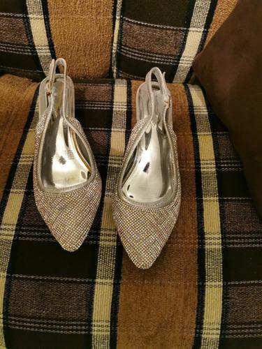 zapato de brillantes, tacon medio, talla 4 1/2