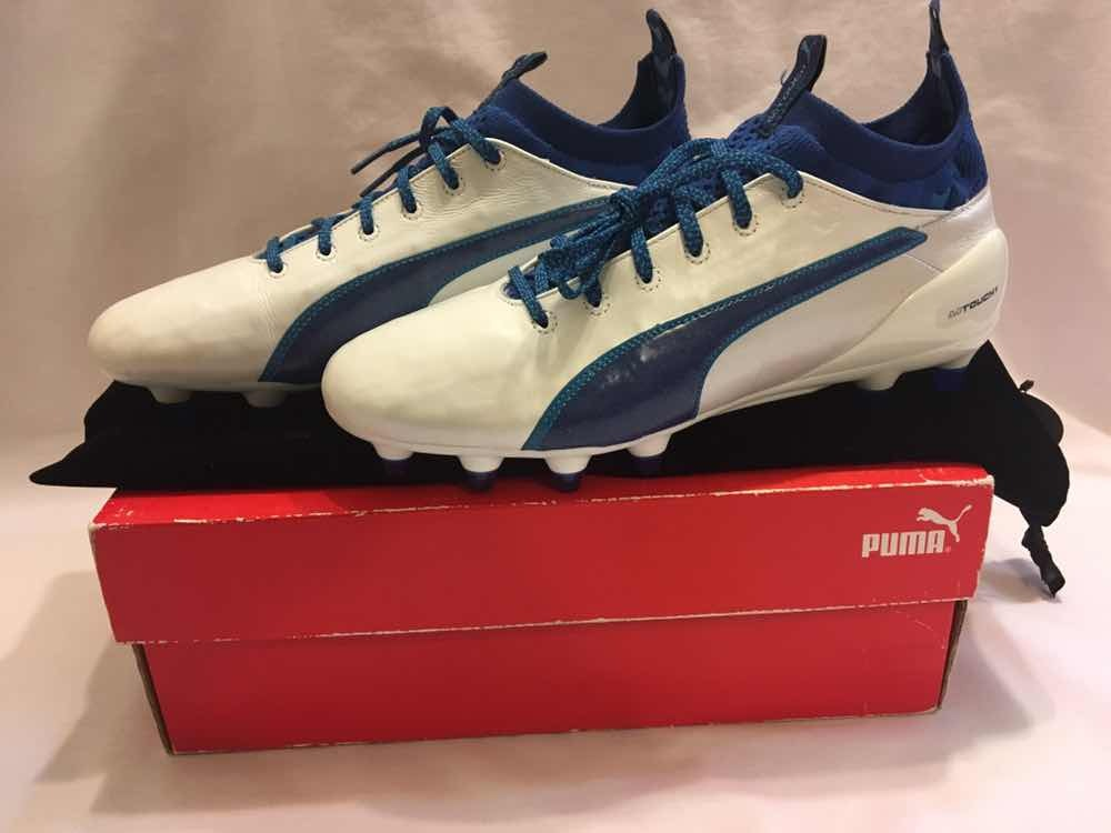 0bfb8e4b99aa2 zapato de futbol profesional puma evotouch fg white blue. Cargando zoom.