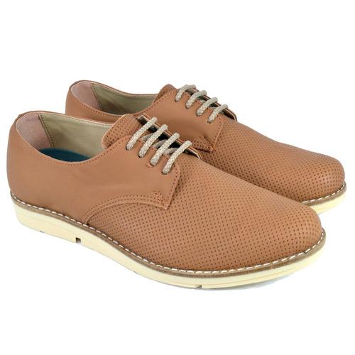 zapato de hombre cuero picado tostado