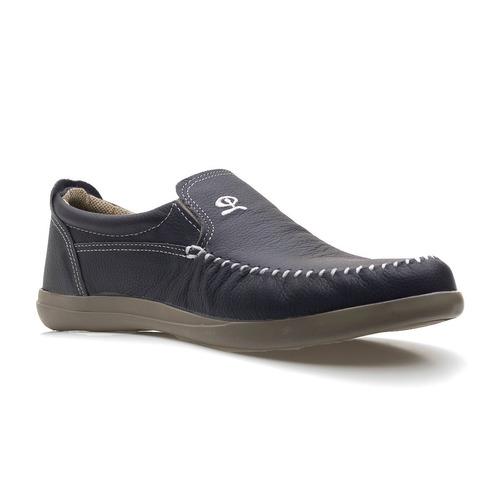 zapato de hombre mocasin nautico cuero azul
