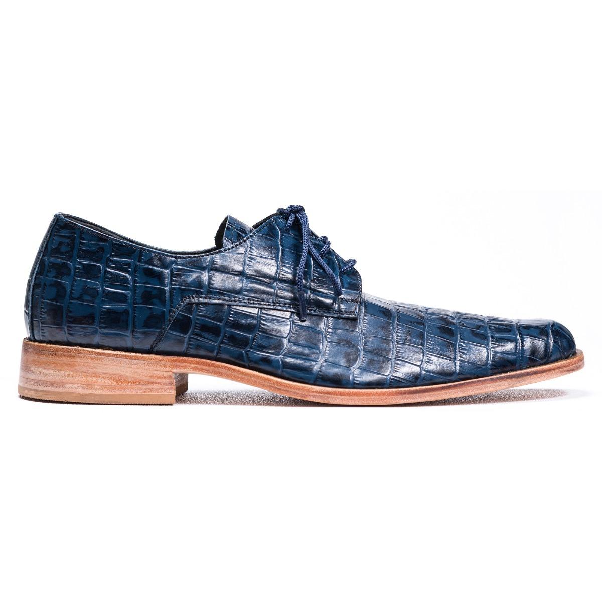 c263097153b zapato de hombre suela sport cuero cocodrilo croco azul. Cargando zoom.