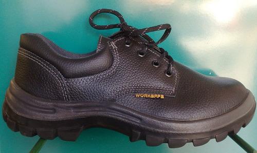 zapato de seguridad worksafe cuero negro o amarillo 33 al 47