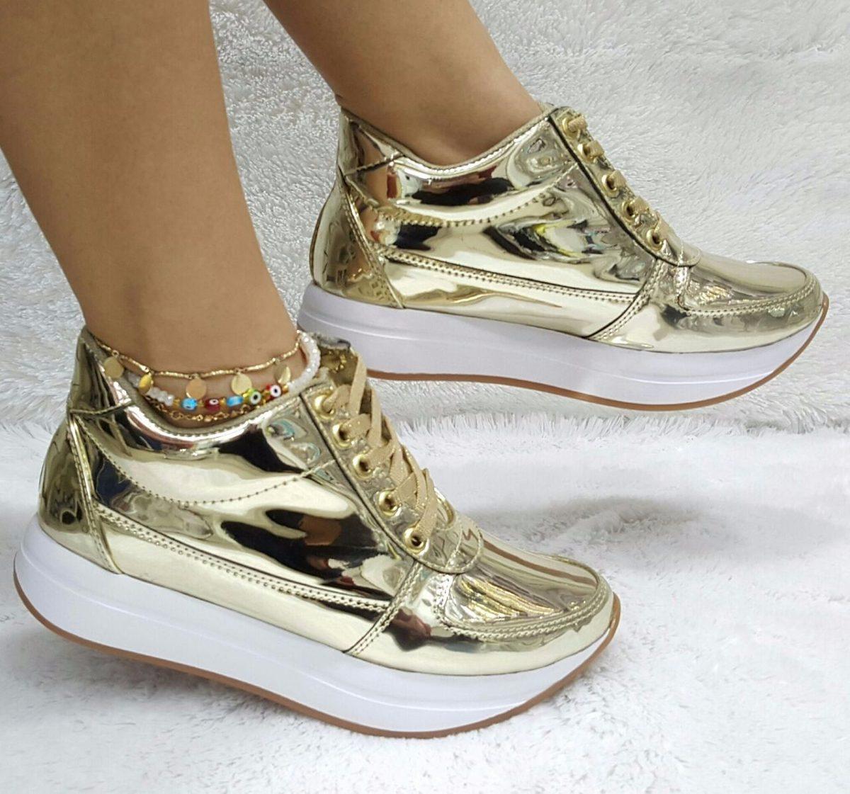 Metalizado Calzado Moda Mujer Dorado Deportivo Zapato 4O7ZI