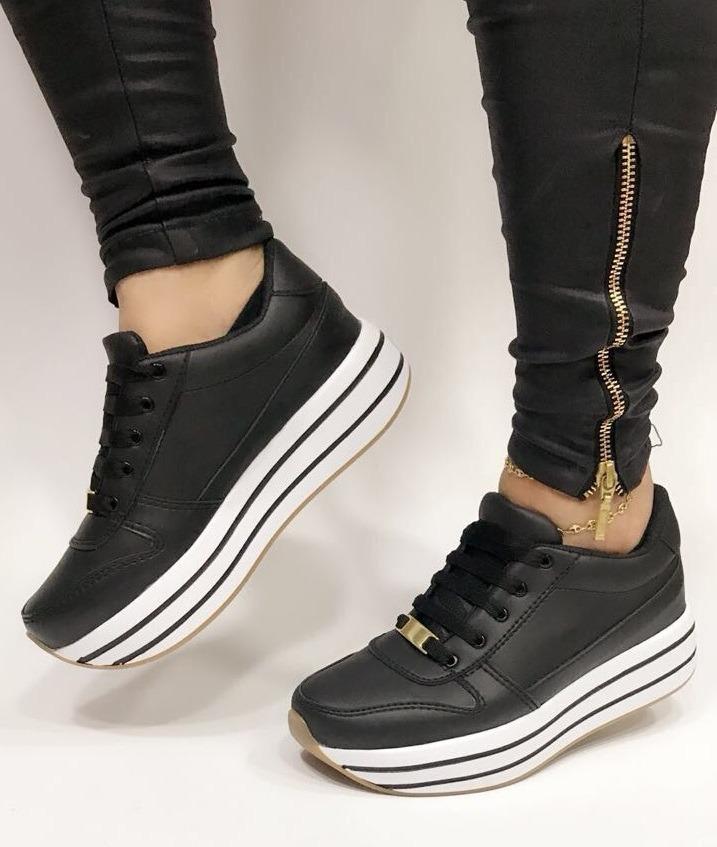 6410f96a671 zapato deportivo negro dos pisos de dama moda para mujeres. Cargando zoom.