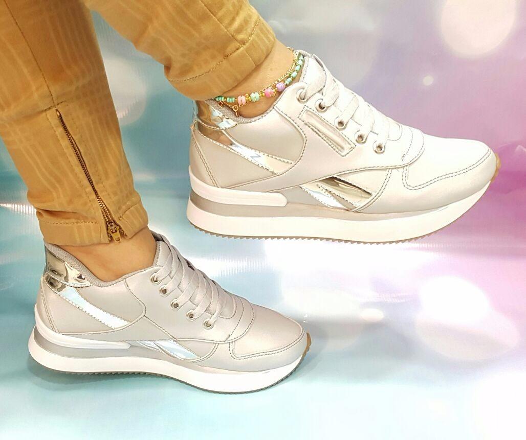 Calzado Deportivo Mujer Moda Plateado68 Zapato Tenis Dama 600 XiOPZukT