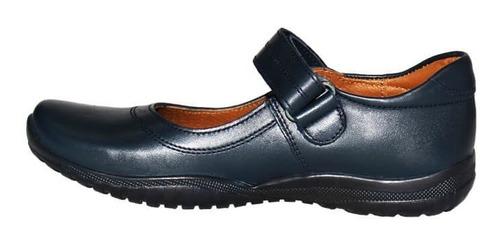 zapato escolar colegial coqueta niña azul marino piel 38700e