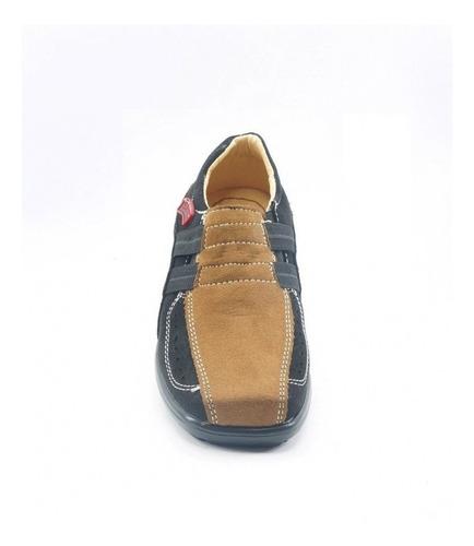 zapato escolar marca blackmont  nobuck negro canela 529