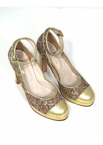 zapato fiesta dorado glitter tira hebilla metalica chiarini