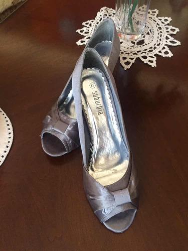 zapato gris plata, fiesta n* 38 nuevo