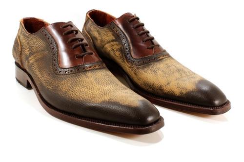 zapato hombre cuero color marrón diseño donato by ghilardi