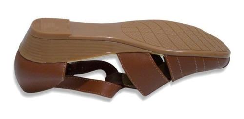 zapato huarache tipo piel con tacón flat mujer empeine alto