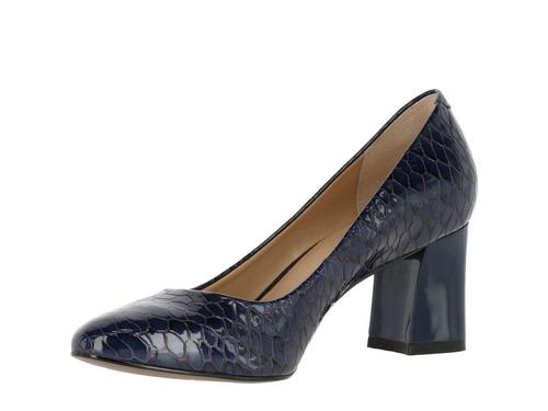 zapato hush puppies leather clarice azul oscuro