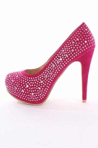 zapato importado taco plataforma fucsia fiesta  36 6 stock