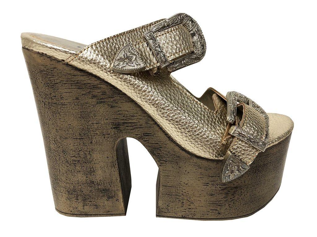 6c5648c9250d9 zapato lucerna plataforma alta cuero taco madera oro. Cargando zoom.
