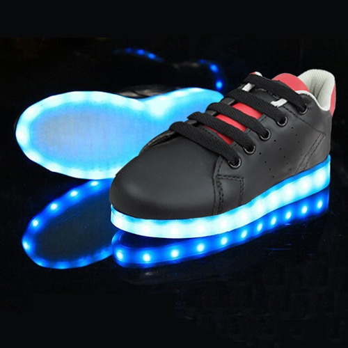 zapato luces led recargable usb - new walk tallas 25 a 36