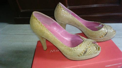 zapato maggio & rossetto , cuero beige,cruz gamuza
