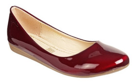 Zapato Mejillitas Flats, Piso Color Merlot Charol 434