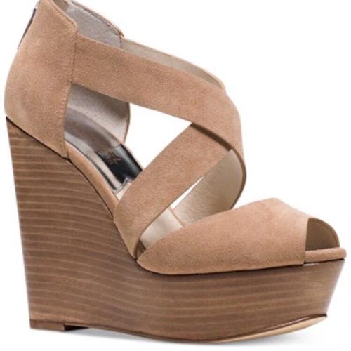 zapato michael kors tacón corrido piel camel nuevo en caja