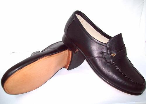 zapato mocasín cuero elastizado de suela