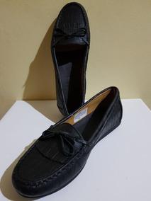 Zapato Negro Cuero Croco Mocasín Mujer De vNn08ymOw