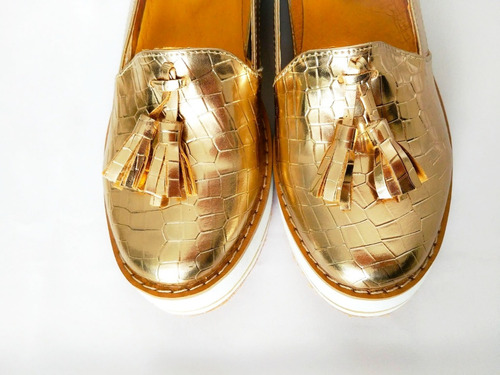 zapato mocasin dorado suela eva art mexico
