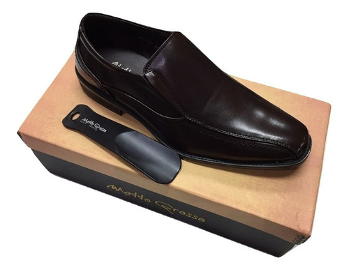 zapato mocasin vestir marron  mg 1737 con calzador obsequio