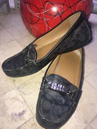 zapato mocasines coach piel gris negro 25 logo