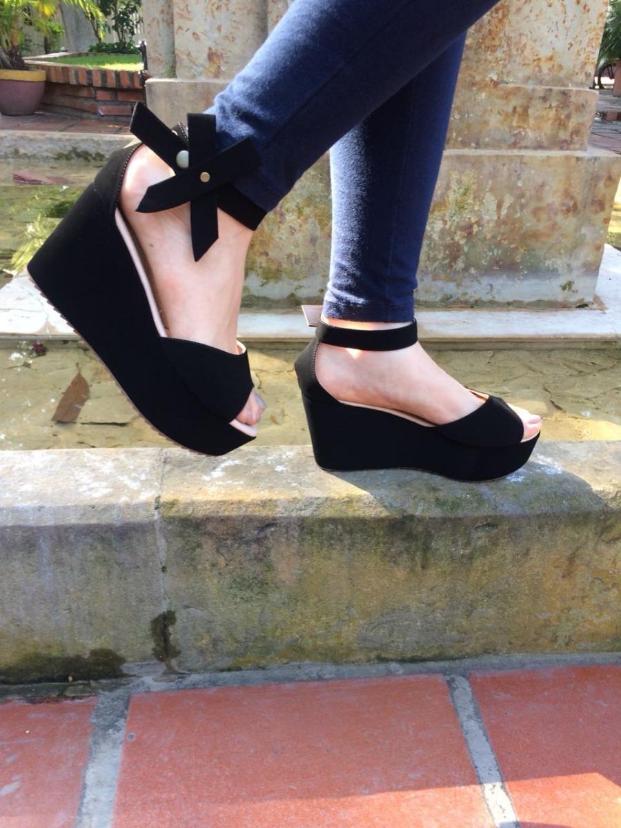 Jlk1ctf Para Negra Mujer Zapato Moda Dama Sandalia Plataforma vf7bgY6y