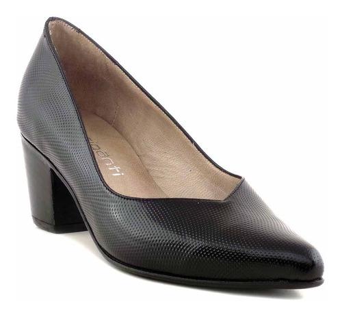 zapato mujer cuero briganti taco vestir negro - mccz33027