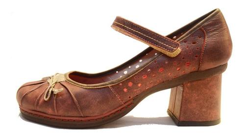 zapato mujer de cuero con taco exclusivo - cj0002
