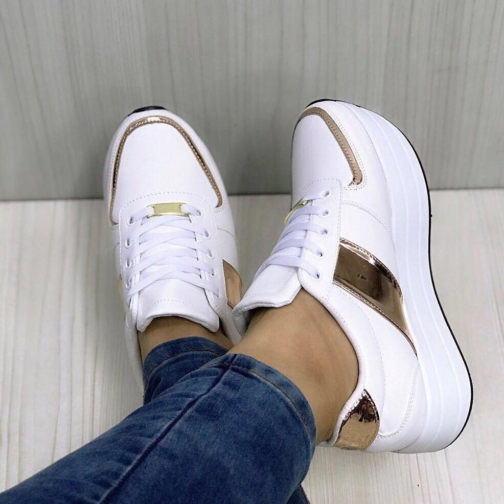 77b9f2fce64 zapato mujer deportivo tenis blanco oro rosa moda de damas. Cargando zoom.