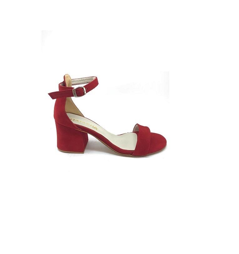 955a5adf Zapato Mujer Sandalia Con Pulsera Natacha Gamuza Roja #463 - $ 3.313 ...